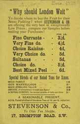 Advert for Stevenson & Co, grocery store